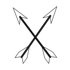 Bow arrows symbol vector illustration graphic design