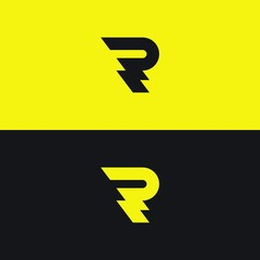 R letter logo. Flat vector template of stylish lightning