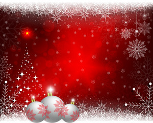 Christmas red background with balls and shiny Christmas tree.
