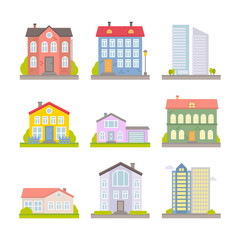 Collection of vector flat colorful city and rural houses for web design and illustration