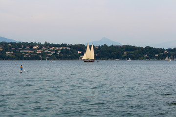 sailing at geneva lake, switzerland
