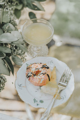 Garden Brunch food plate with donut and quiche