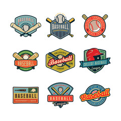 set of vintage baseball logos. vector illustration
