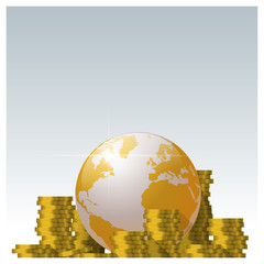 Financial concept with piles of coin and golden world globe background , vector , illustration