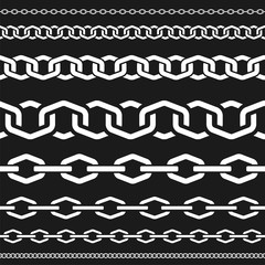 Different scale chains, protection seamless pattern, fencing white vector design element silhouette vector illustration on black background.
