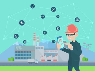 Start smart factory.Industry 4.0. Artificial intelligence. Neural network. Vector illustration in flat style.
