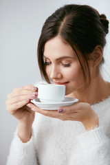 Beautiful Woman With Cup Of Coffee.
