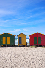 MUIZENBERG BEACH, CAPE TOWN, SOUTH AFRICA - 9 March 2018 : Muizenberg beach is a common morning surf spot for Capetonians.