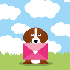 cute dog with envelope mail in mouth - mothers day vector illustration
