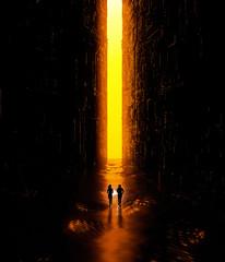 Paesaggio fantasy, fessura, oscurità, luce, sole, persone che corrono con una torcia in mano in un paesaggio fantascientifico, grande portale luminoso