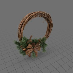 Wood holiday wreath with bow