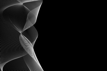 Abstract wave lines - black and white - vector pattern