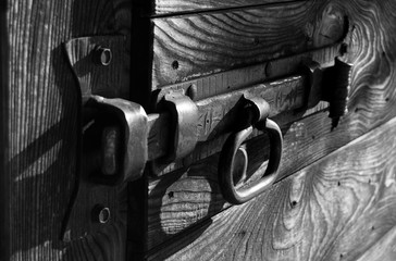Old metal lock in black and white