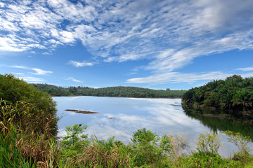 beautiful natural scene at Tembak, Kenyir Lake, Terengganu, Malaysia