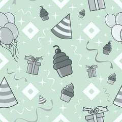 birthday party seamless pattern light blue theme vector