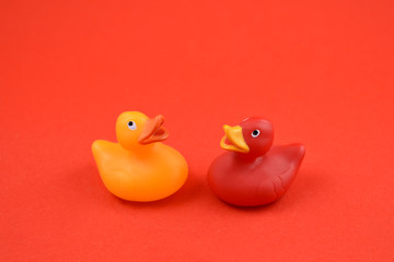 Rubber duck stock images. Toy rubber duck isolated on a red background. Red and yellow rubber duck