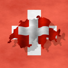 Illustration of a Swiss flag with a contour of bordes