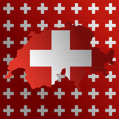 Swiss flag with a contour of borders