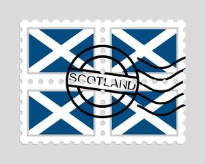 Scotland flag on postage stamps