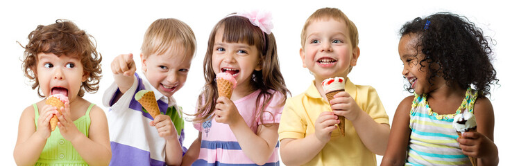 kids group eating ice cream isolated on white