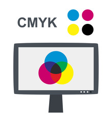 Vector CMYK concept with lcd monitor - Subtractive color mixing