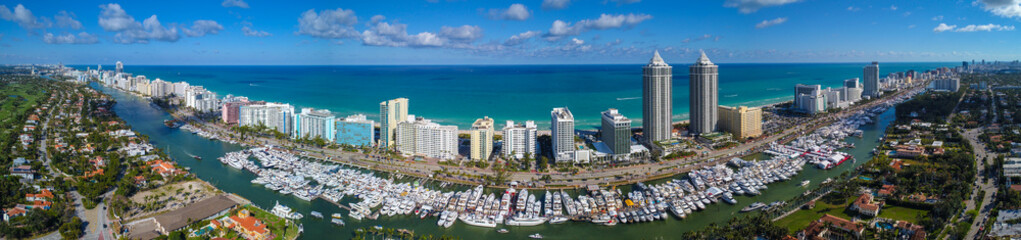 Aerial panorama Miami Beach Boat Show 2018