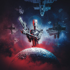 Prelude to space war / 3D illustration of science fiction scene showing large military android with rifle looming over moon with fleet of spaceships in the background