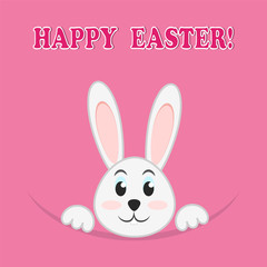 Easter rabbit on pink background, greeting Happy Easter card,stock vector illustration
