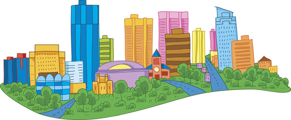 Color cartoon of the skyline of the city of London, Ontario, Canada.