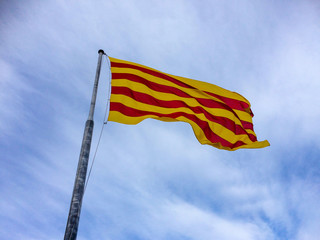 Catalunya regional flag in the Montjuïc Castle, Barcelona