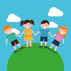 cute kids holding hands in landscape vector illustration
