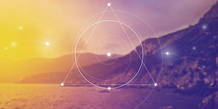 Sacred geometry website banner with golden ratio numbers, interlocking circles, triangles and squares, flows of energy and particles in front of nature background. The formula of nature.
