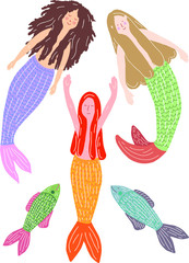 hand-drawn swimming mermaids and fishes, vector illustration on white background, isolated