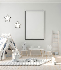 Child game room in modern interior with poster mockup 3d rendering