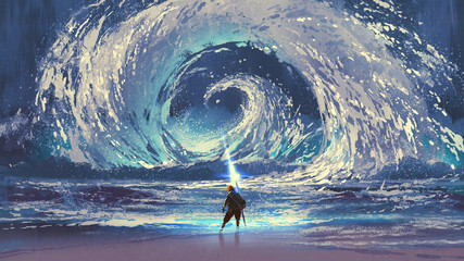 Deurstickers Grandfailure man with magic spear makes a swirling sea in the sky, digital art style, illustration painting
