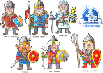 funny medieval warriors, set of cartoon images