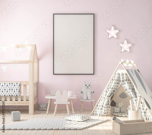 """Poster Frame Mockup In Kids Room, Stylish Decor 3d"