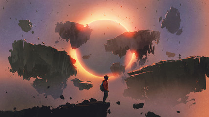Deurstickers Grandfailure boy standing on the edge of the cliff looking at eclipse and rocks floating in the sky, digital art style, illustration painting