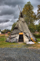 Traditional sami tent in Lapland, Finland