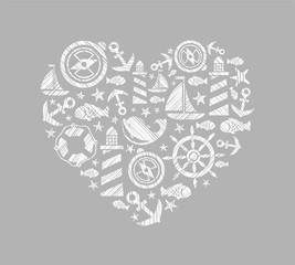Sea heart background, grey, vector. Dolphin, fish and attributes sea travel. White icons in the shape of a heart. Vector picture. Hatching with a white pencil on a gray field. Imitation.
