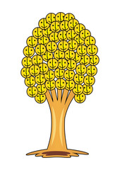 Tree of smiles and joy. Tree with smiley face instead of leaves. Yellow color.