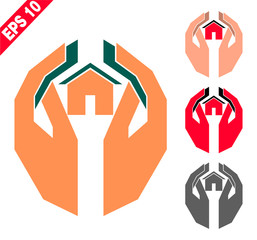 hands holding the house (logo, emblem, symbol, sign) in geometric style and two colors