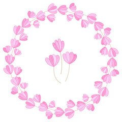 Pink flower wreath vector illustration isolated on white