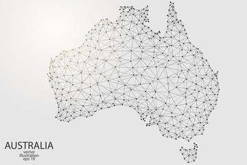 Australia map consisting of 3D triangles, lines, points and connections. Vector illustration of EPS 10.