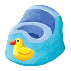Blue potty with yellow duck