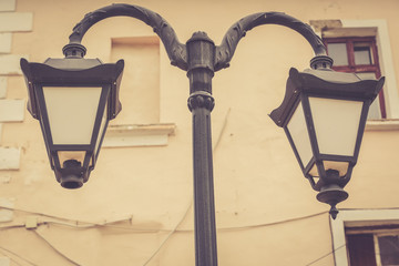 Details of Chernivtsi architecture Ukraine. Old centre. Street lamps