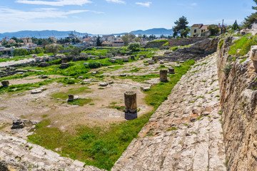 Archaeological site of Eleusis (Eleusina). The Telesterion was built in the Mycenaean period as a home for Demeter. Later on, it became the hall in which events dedicated to Demeter and Persephone