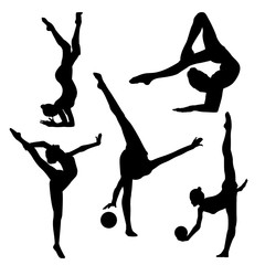 Black silhouette of gymnast on white background, black in white