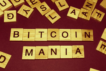 Wooden blocks on a brown background spelling words Bitcoin Mania