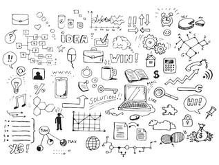 Business doodles hand-drawn sketch set
